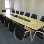 Cable Managed Boardroom Table With Leather Boardroom Chairs