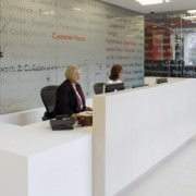 corian reception desk with tiled front