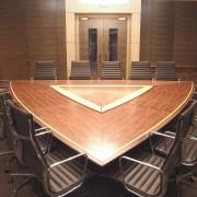triangular boardroom table walnut