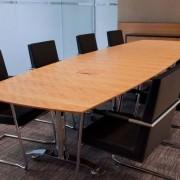 flip top boardroom tables anigre veneer