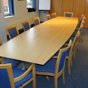 flip top boardroom tables in beech veneer