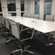 flip top conference table with wheels in white