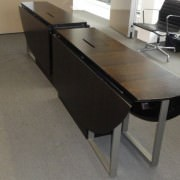 folding conference tables in closed position