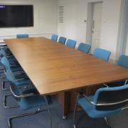 walnut folding boardroom table on wheels