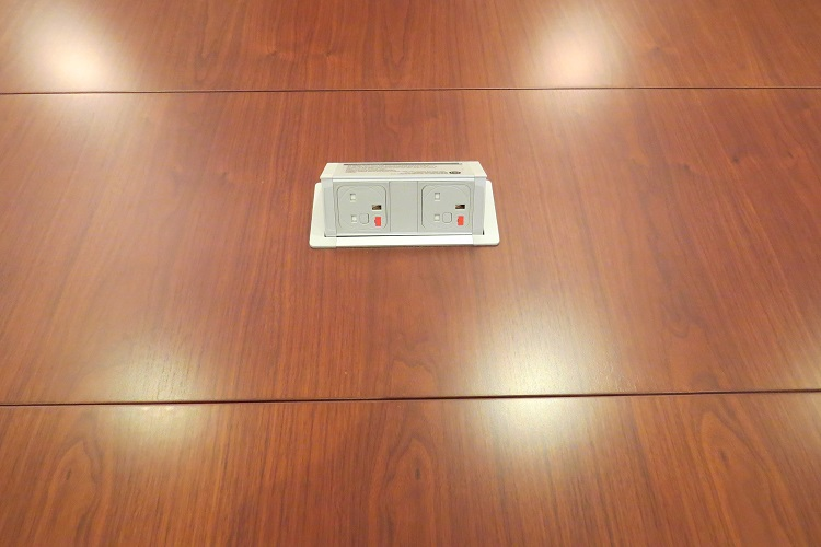 power sockets in conference table with wheels